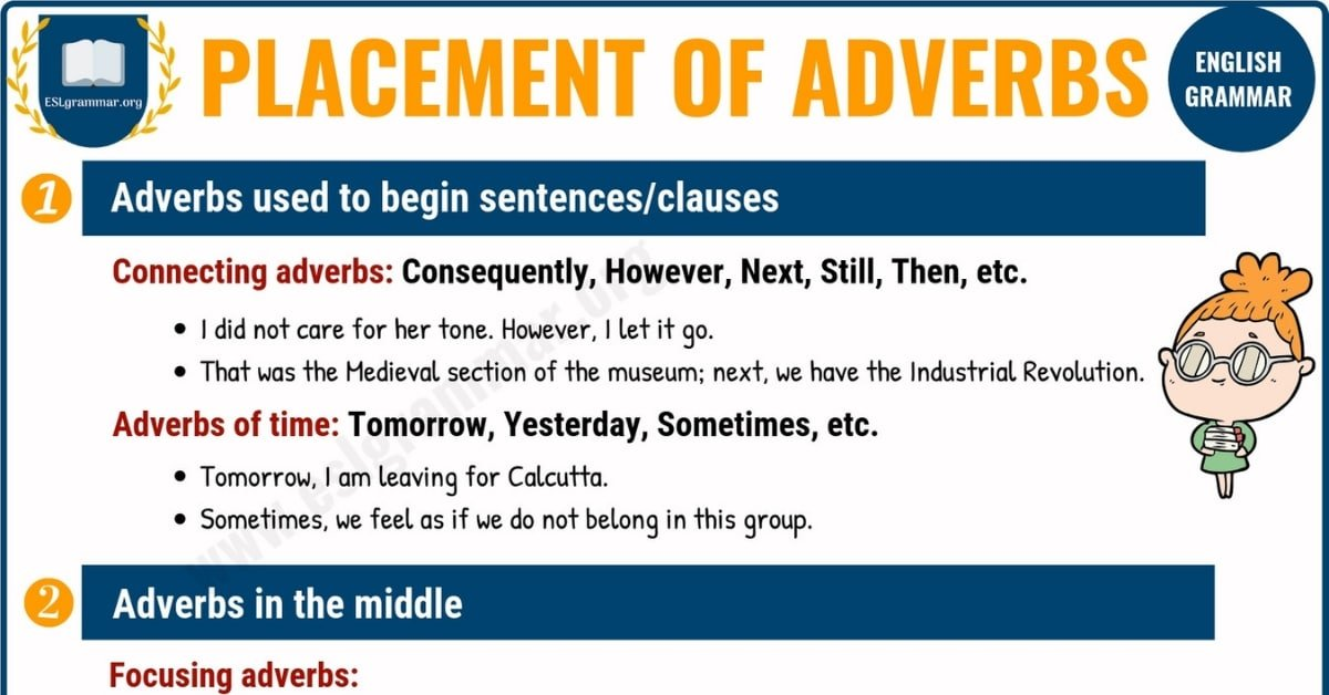 Position of Adverbs in English Sentences | Adverb Placement 8