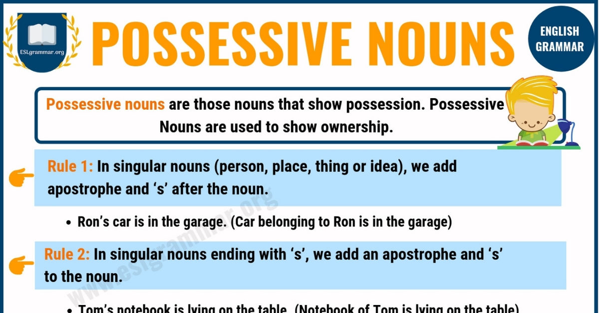 Possessive Nouns: Definition, Rules and Useful Examples 1