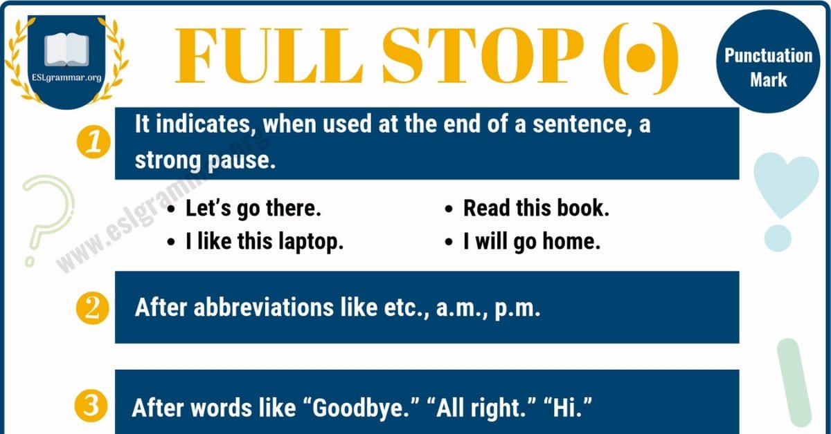 FULL STOP (.) Meaning and Examples (Period Punctuation) 1