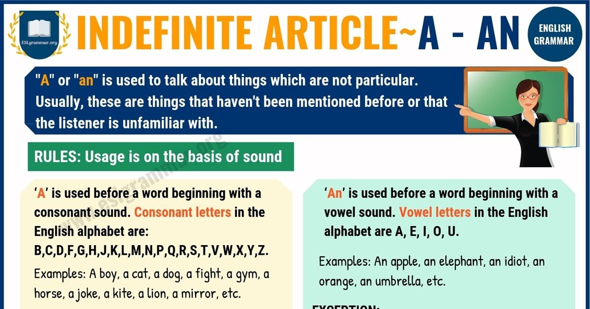 Indefinite Articles: A and An | Definition, Useful Rules & Usage 1