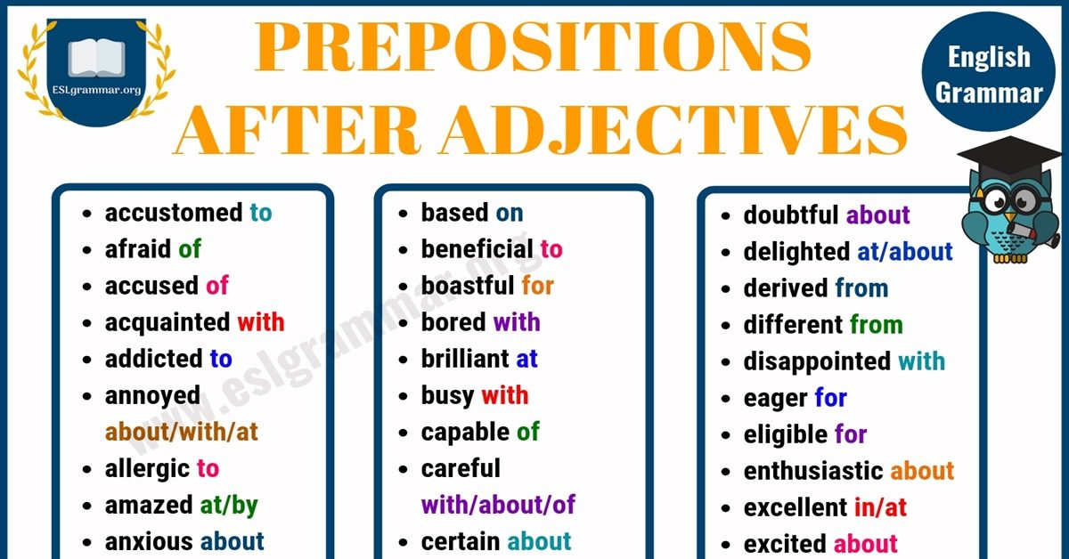 130+ Prepositions after Adjectives | Adjectives & Prepositions 4