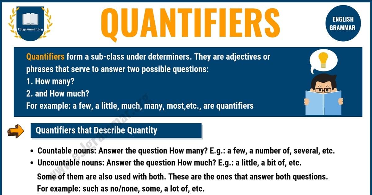 Quantifiers in English | A Lot Of, A Few, A Little, A Bit... 1