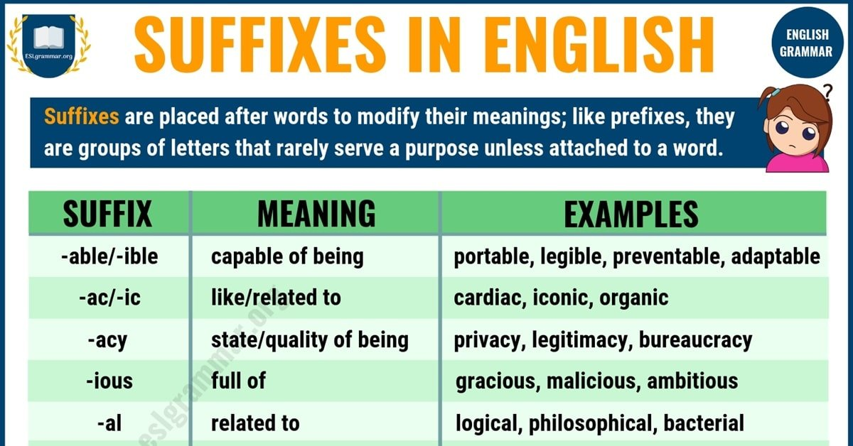 45 Common Suffixes with Suffix Definition and Examples 8