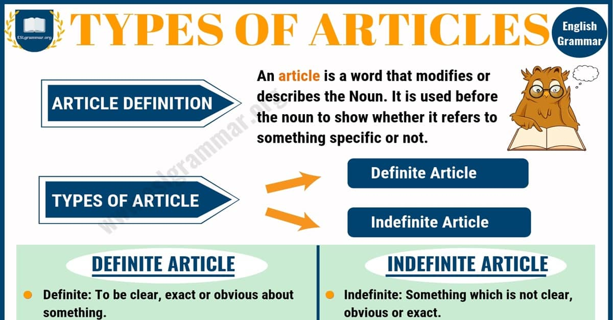 Types of Articles: Definite Article & Indefinite Articles 3