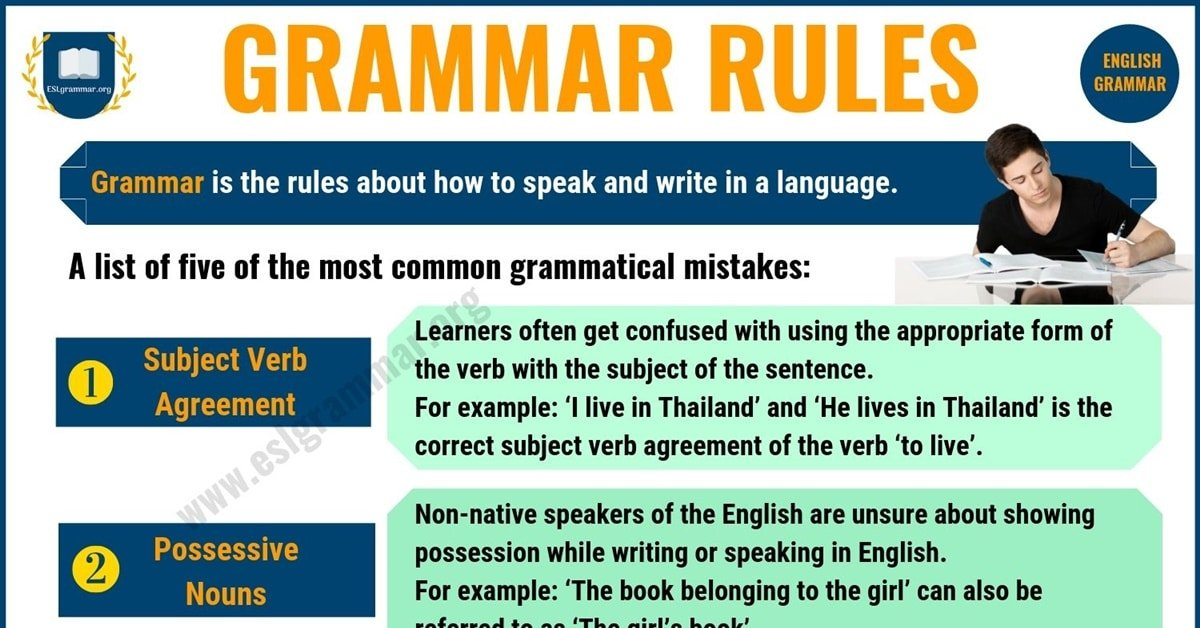 Grammar Rules: 5 Important Rules of Grammar for ESL Learners 2