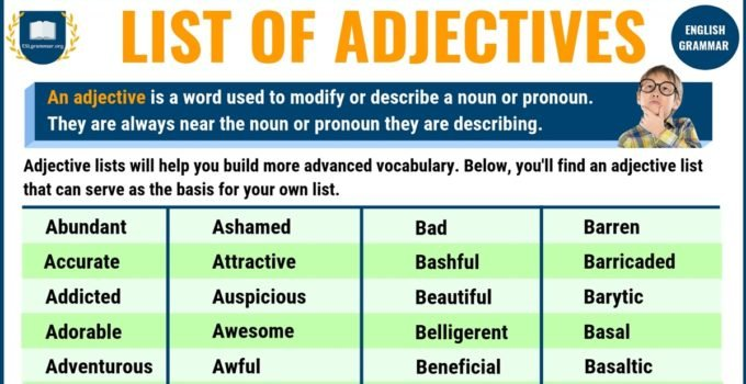 List of Adjectives: 300 Useful Adjectives Examples from A to Z with Exercises 9
