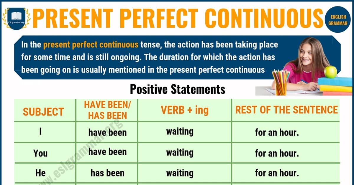 Present Perfect Continuous Tense : Definition, Useful Examples & Excercise 9