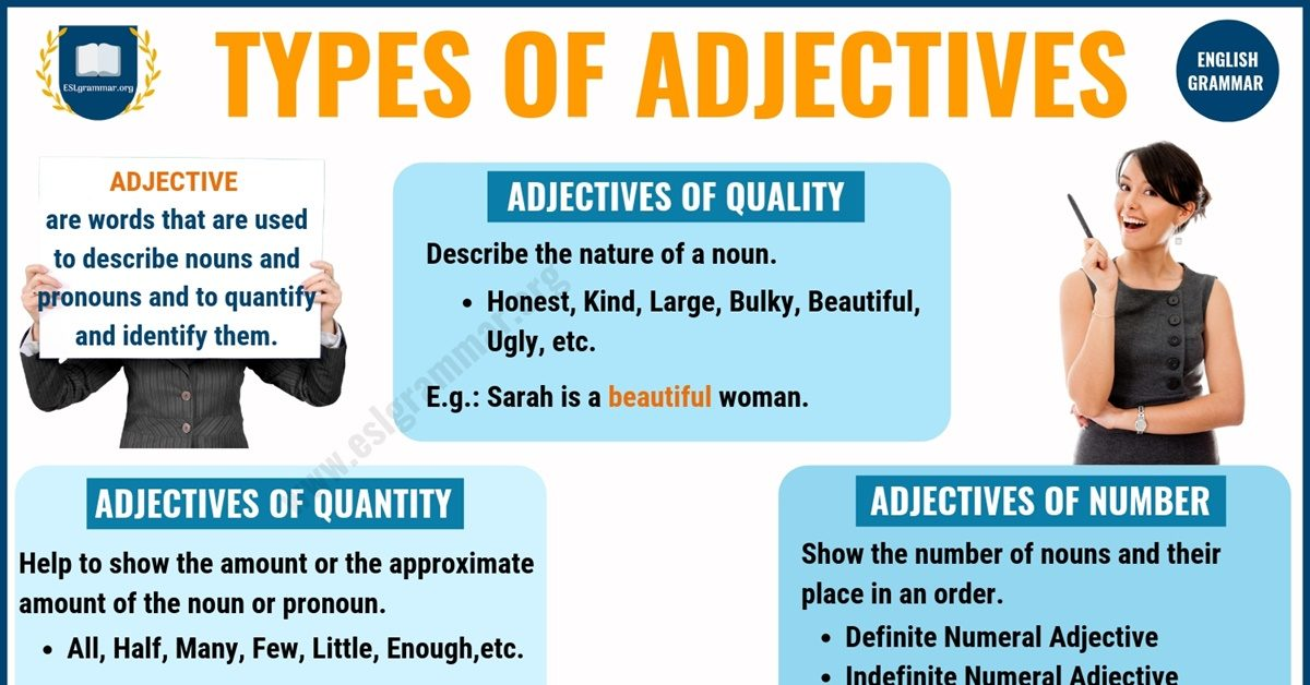 Adjectives: 5 Types of Adjectives with Definition & Useful Examples 1
