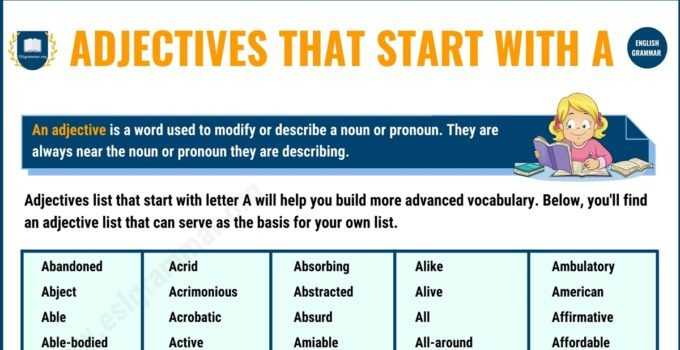300 Popular Adjectives That Start with A 1