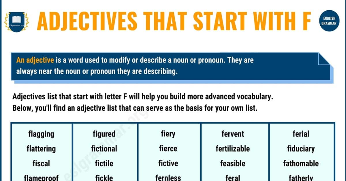 Extraordinary Adjectives that Start with F with Example Sentences 1