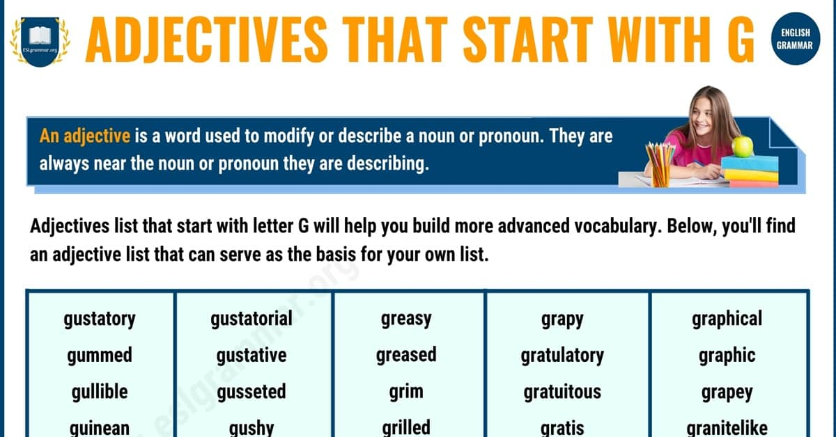 Amazing List of 300+ Adjectives that Start with G with Examples 1