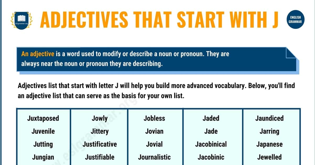 Remarkable List of 100+ Adjectives that Start with J 1