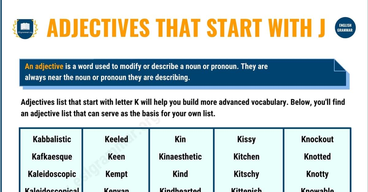 90+ Popular Adjectives that Start with K with Useful Examples 1